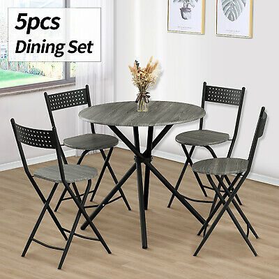 5 Piece Metal Dining Table Set w/ 4 Folding Chairs Wood Top Kitchen Room Grey Dining Room Round Bedroom Set