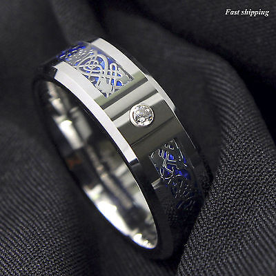 Celtic Diamond Wedding Rings (8Mm CZ Silver Celtic Dragon Tungsten Carbide Ring Wedding Band ATOP Men Jewelry )