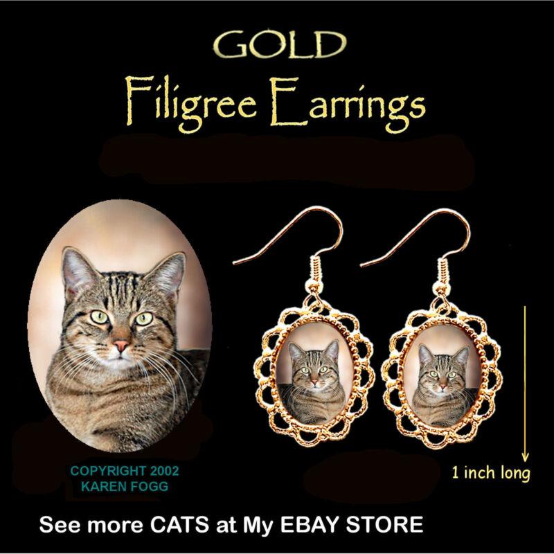 TABBY SHORTHAIR Pretty Face Cat - GOLD FILIGREE EARRINGS Jewelry