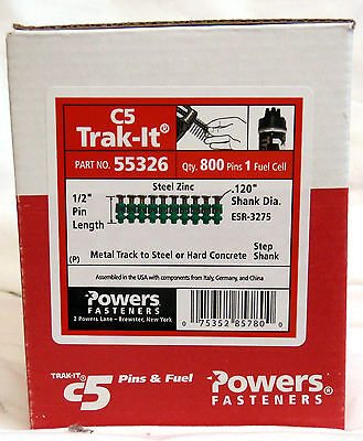 Powers 55326 12 Pins For C5 Trak-it Gun-box Of 800