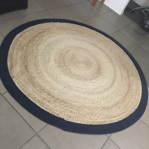 Large Round Jute Rug Natural And Navy 1 9m