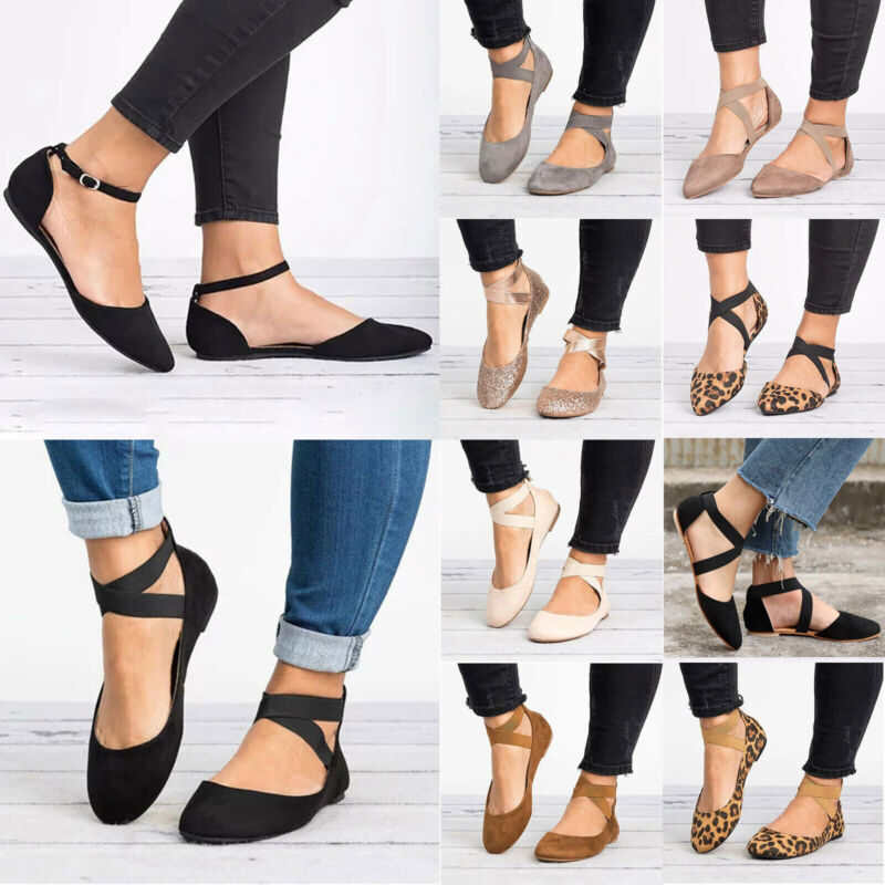 Women's Slip On Flat Ankle Strap Pumps Ballet Dolly Casual B