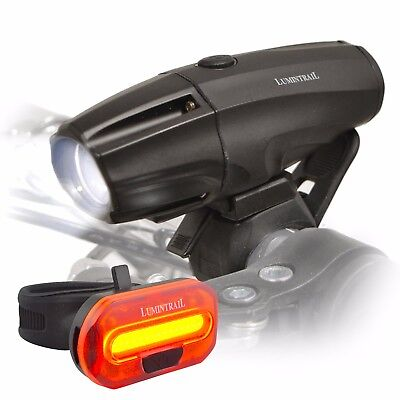Lumintrail USB Rechargeable 1000 Lumen LED Bike Light Headlight Taillight Set