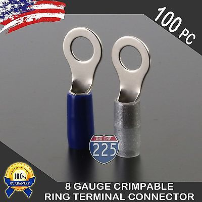 8 Gauge Crimpable Ring Terminal 100/Pack Wire Crimp blue Silver Boots 5/16