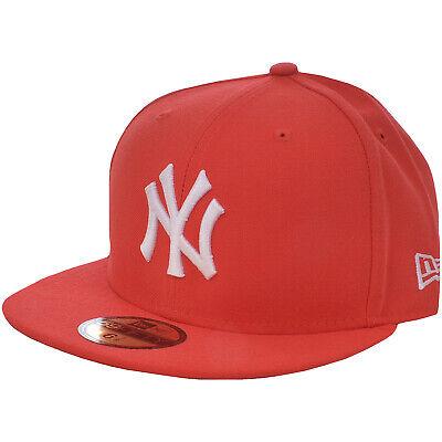 New Era Mens New York Yankees 59FIFTY Flat Brim Baseball Cap Hat - Red