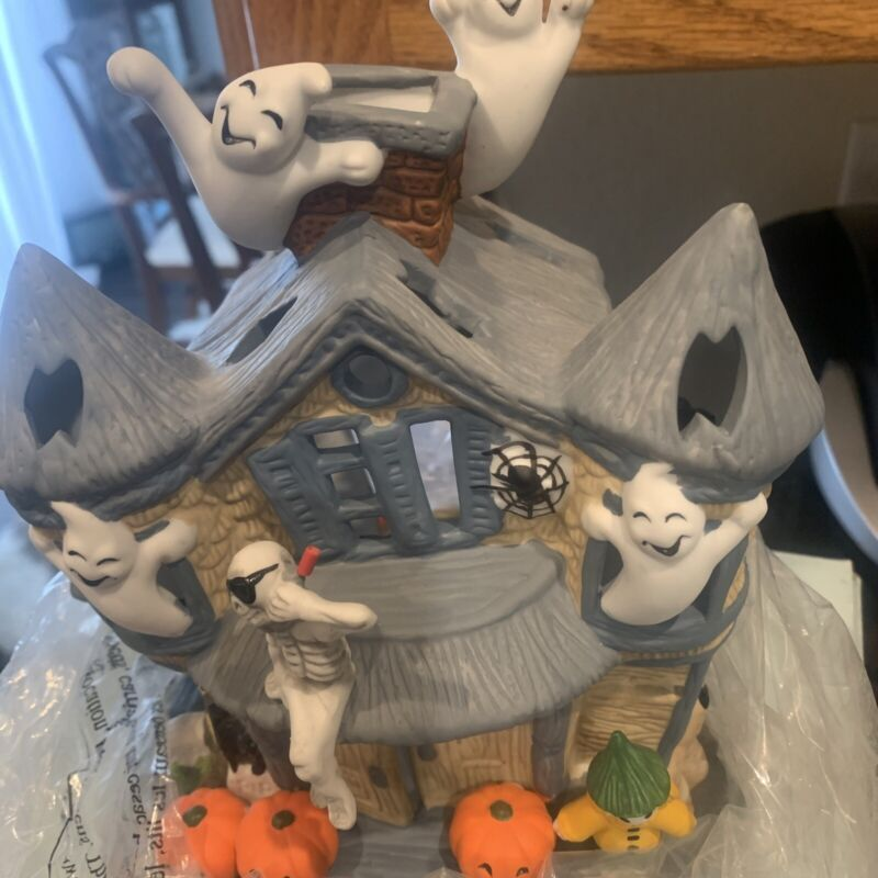 Partylite Halloween Haunted Ghost House Tealight Candle Holder Pumpkins ...
