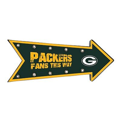Green Bay Packers Arrow Marquee Sign - Light Up - Room Bar Decor NEW 18