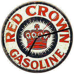 8 WALL CLOCK - Vintage Looking Sign Garage #1 Red Crown Gasoline Gas Oil Retro