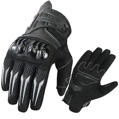 Street Riding Gloves - Motorbike Gloves MX Racing Street Riding Leather Knuckle Protection Summer Glove