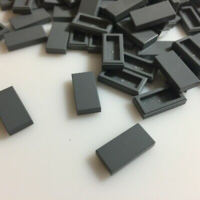 75 NEW LEGO Dark Stone Grey 1x2 Flat Tiles (3069/4211052) finishing modular