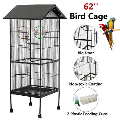 62'' Large Bird Parrot Cage Chinchilla Cockatiel Conure House w/Stand Pet Supply