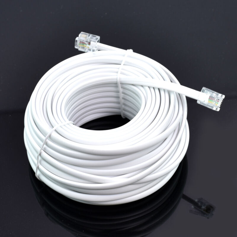 50FT feet RJ11 6P4C Modular Telephone Extension Cable Phone Cord Line Wire White