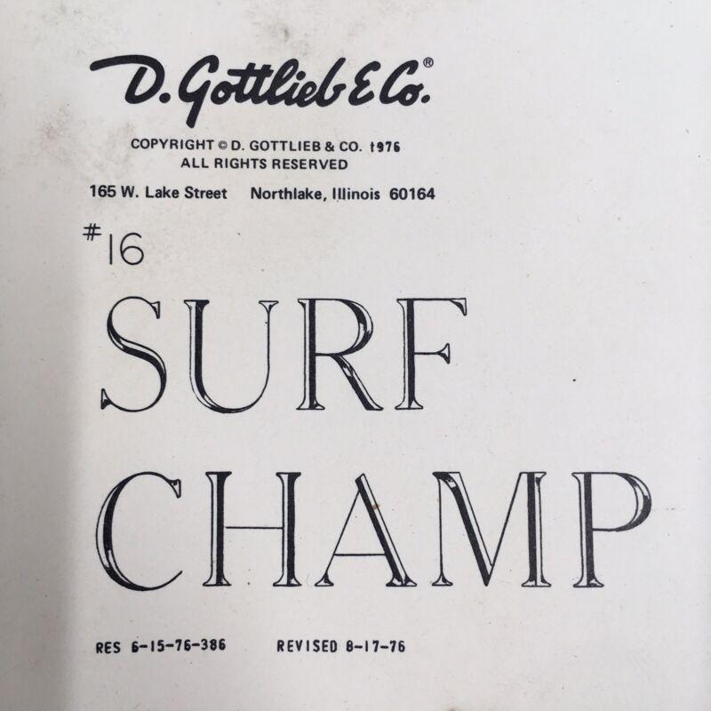 Gottlieb Surf Champ Pinball Machine ORIGINAL Manual Schematics Cards Packet