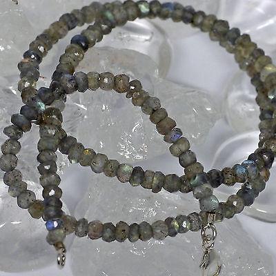 edel schimmernde Labradoritkette L:45cm  925 Silber Halskette Facettiert Magic