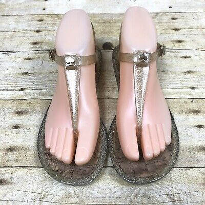Kate Spade Silver Glitter Yari Jelly T-strap Ankle Cork Sole Sandals 6