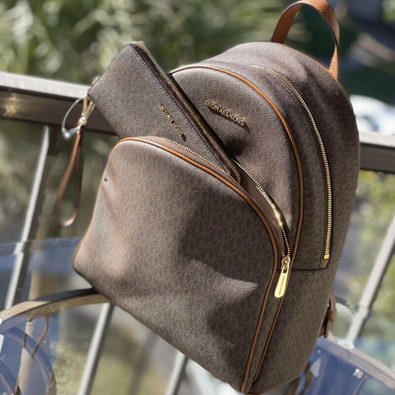 Michael Kors Women Large Leather School Backpack Travel Shoulder+ id Long Wallet