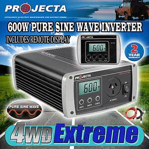 PROJECTA IP600 12V TO 240V 600WATT PURE SINE WAVE POWER INVERTER 12 VOLT CARAVAN