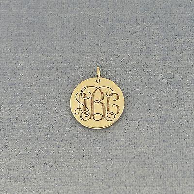 (Solid Gold 10k 14k Engraved 3 Initials Monogram 1/2
