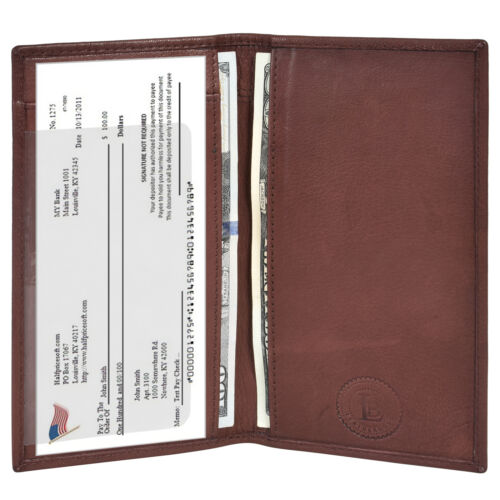 Leatherboss Genuine Leather PLAIN Checkbook Cover with ID Slot, Dark Brown
