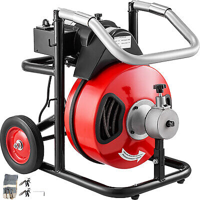 Commercial Drain Cleaner 100ft X 12 Sewer Snake Drain Auger Cleaning W Cutter