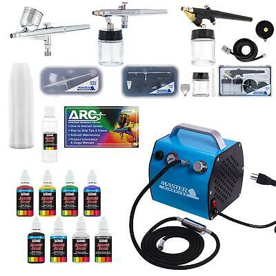 Pro Airbrush System w/ 3 Airbrushes Deluxe Air Compressor & 6 Paint Colors