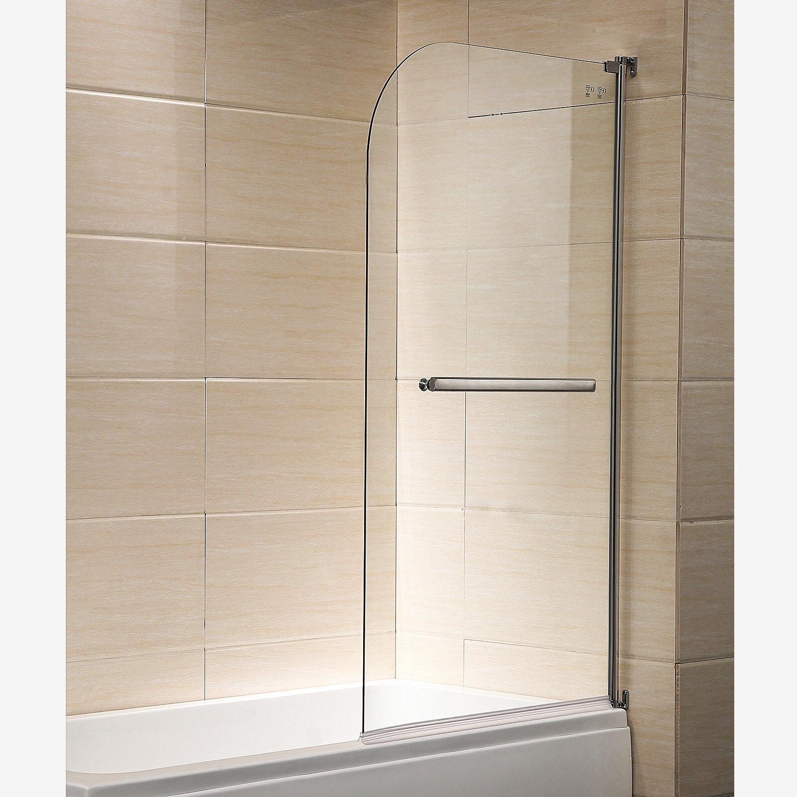 Details About Modern 55 X31 1 4 Bath Shower Door Hinged Frameless Clear Glass Chrome