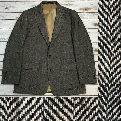 Land's End Men's 40R 100% Wool Tweed Knit Herringbone Blazer Jacket Coat