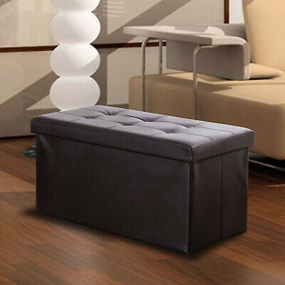 Faux Leather Storage Bench Ottoman Chest Large Folding Box Foot Rest Footstool Folding Storage Bench