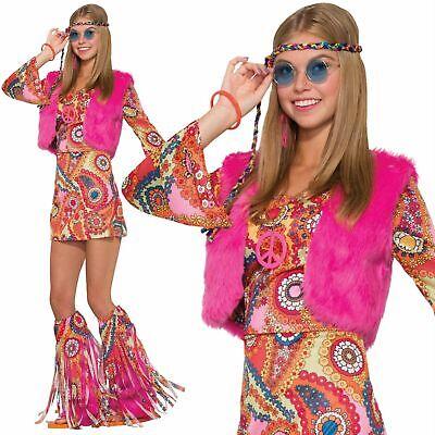Damen Hippie 60s 70s Blume Kostüm Outfit Hippie - Pelz Damen Kostüme