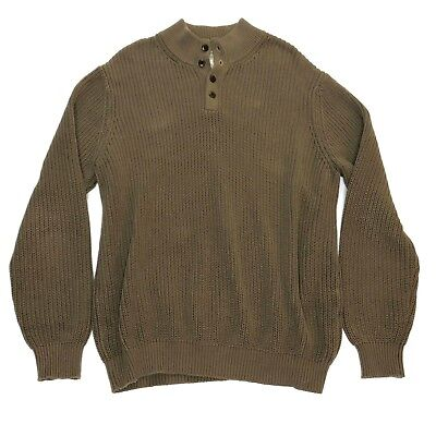 L.L. Bean Men's Henley Sweater XL Chunky Cable Knit Fisherman Olive (Cable Knit Henley Sweater)