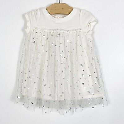Baby Gap Infant Baby Girls Cream Silver Sparkle Star Tull Dress Size 6-12 Months