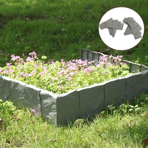 10 × Palizzata bordatura prato recinzione da giardino di plastica 2.5m Grigio