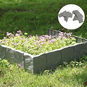 10 PACK GREY COBBLED STONE EFFECT PLASTIC GARDEN LAWN EDGING PLANT BORDER 2.5M