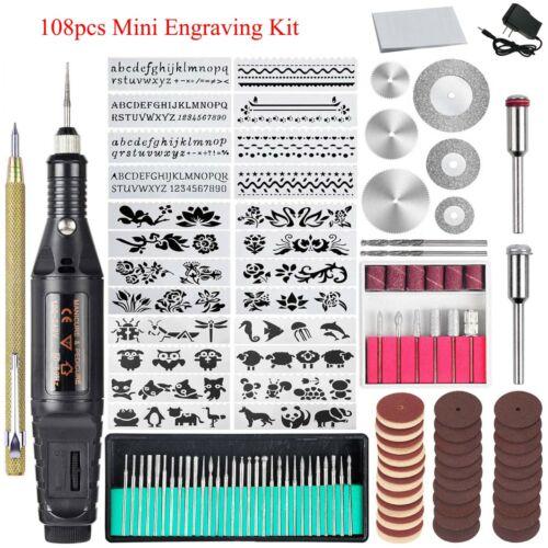108 Pcs Electric Engraver Mini Engraving Etching Pen Micro Sander Tool