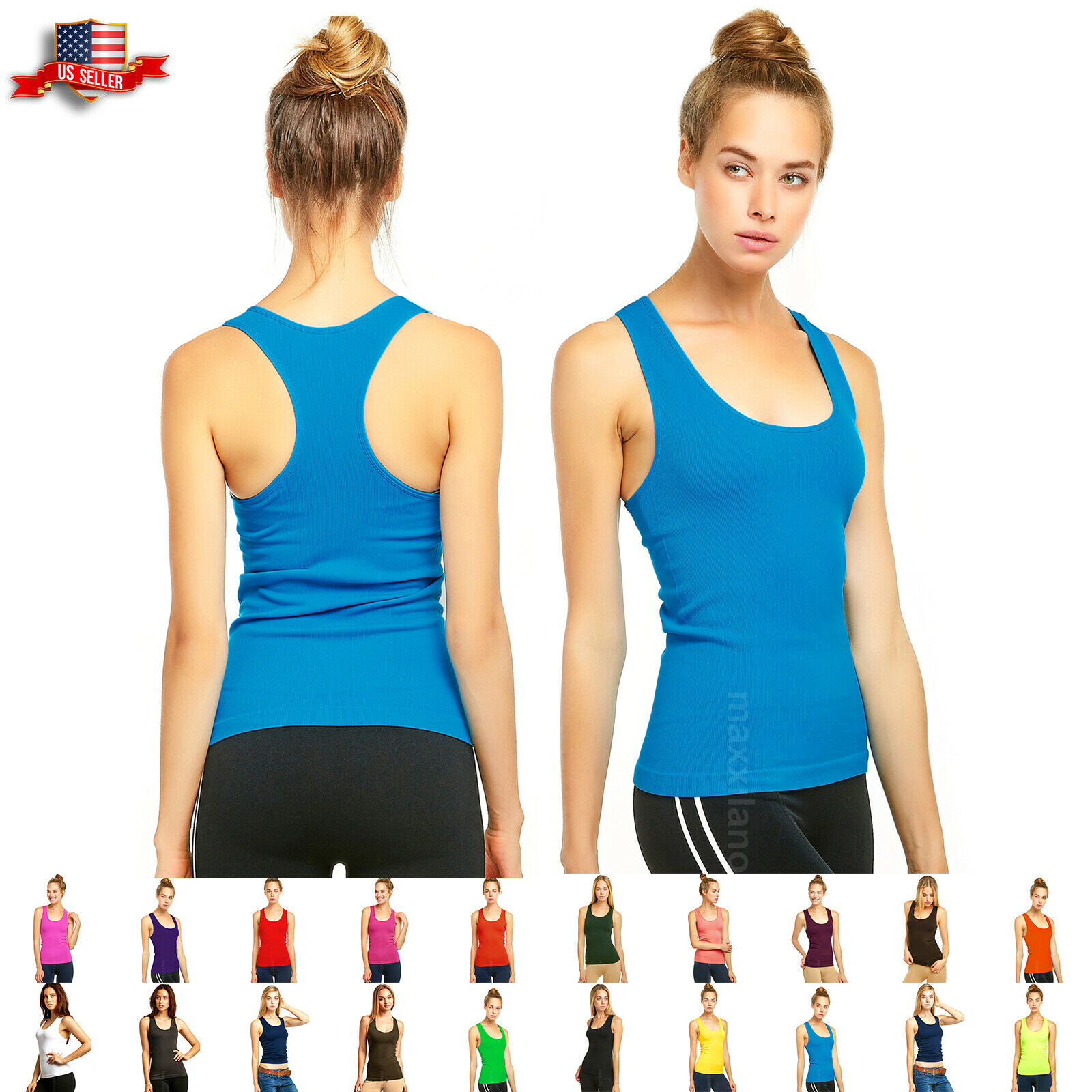 Tank Top Womens Sleeveless Yoga Gym Shirt Ribbed Basic Racer