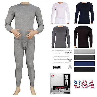 -  Men 2PC Thermal Underwear Knit Top Winter Crew Neck Tee Long John Waffle Pants