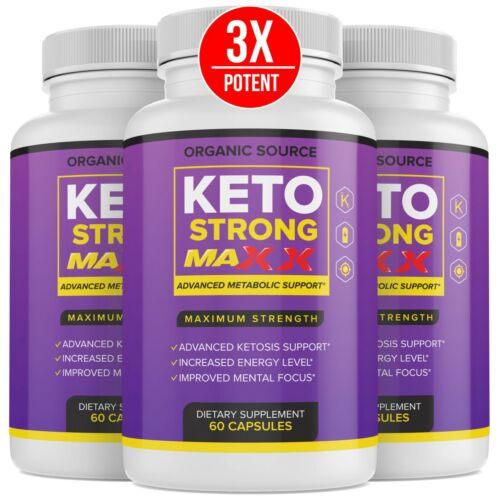 (3 Pack) Official Keto Strong, Max Advanced Formula, 3 Bottles, 3 Month Supply