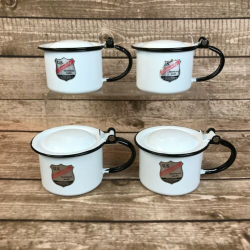 Vintage United States Stamping Co Enameled Ware Set of 4 Cups / Sputum Cup