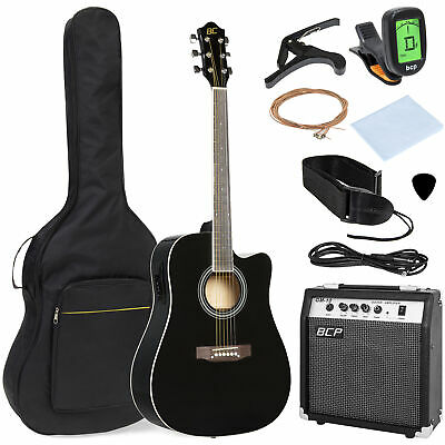 BCP 41in Full Size Acoustic Electric Cutaway Guitar Set w/ 10-Watt Amp, Case