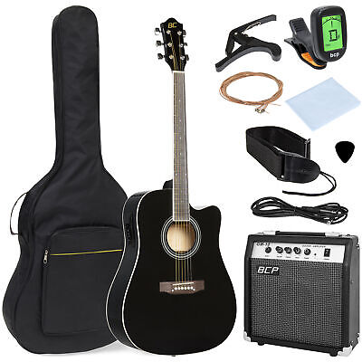 41in Full Size Acoustic Electric Cutaway Guitar Set w/ 10-Watt Amp, Case