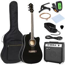 BCP 41in Full Size Acoustic Electric Cutaway Guitar Set w/ 10-Watt Amp, Case