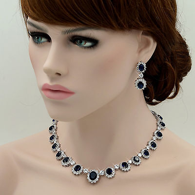 Platinum Plated Sapphire Zirconia CZ Necklace Earrings Wedding Jewelry Set 708 Blue Sapphire Platinum Necklace