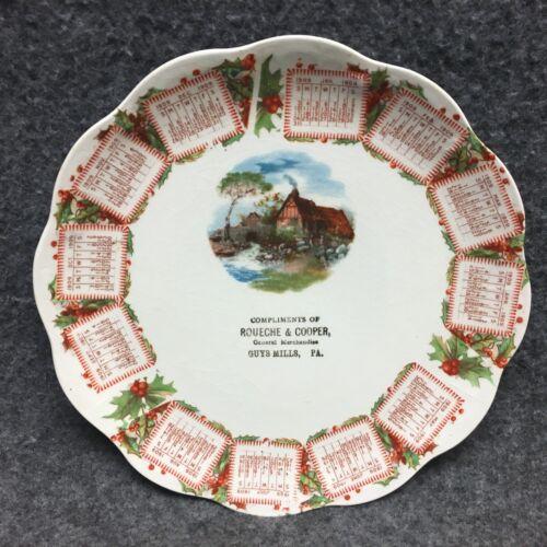 Guys Mills PA 1909 Store Advertising Calendar Plate Roueche & Cooper Merchandise