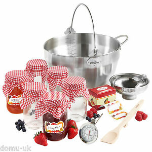 VonShef Jam Preserving Set inc 9L Maslin Pan, Jars, Funnel, Thermometer & Spoon