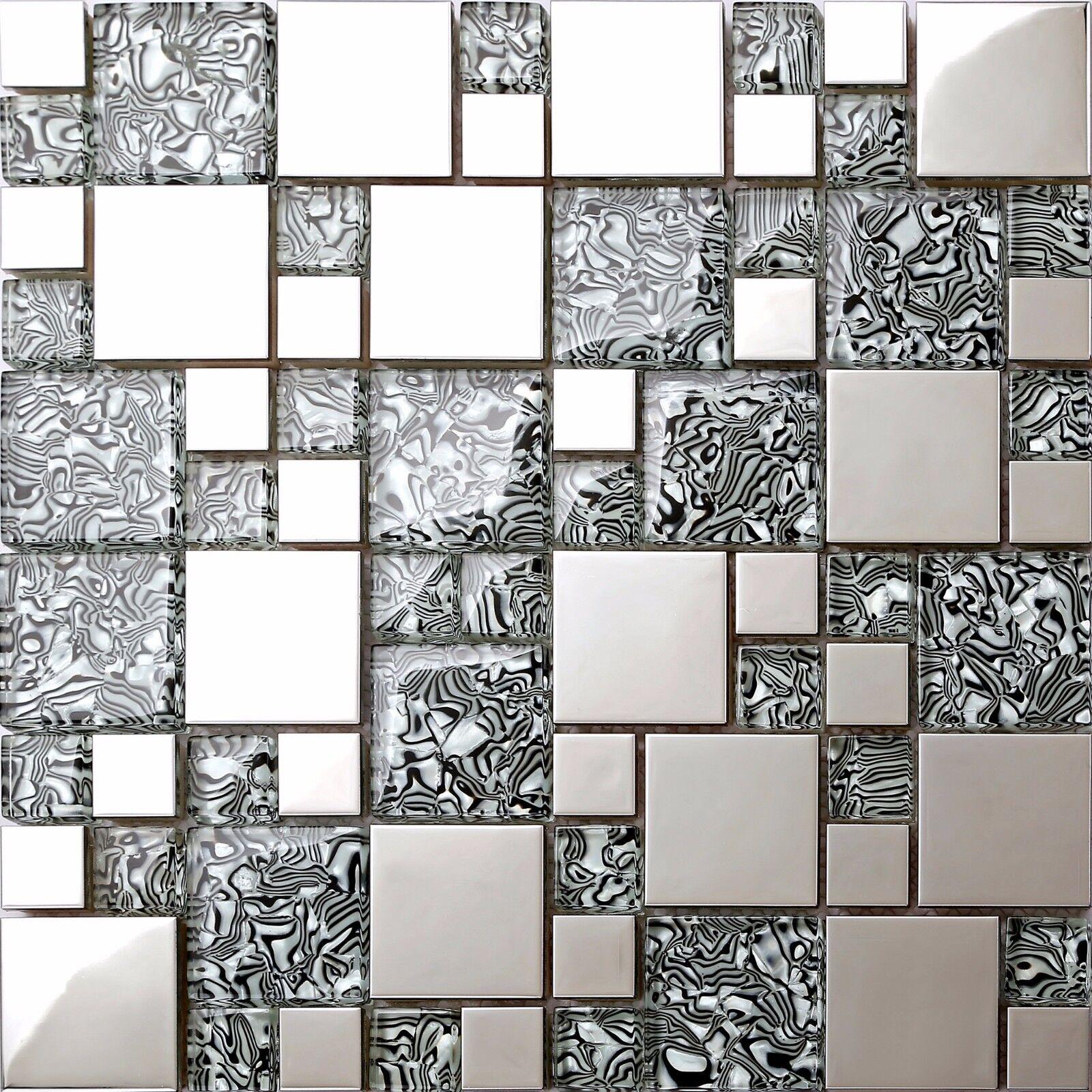 Glasmosaik Fliesen In Weiss Grau Schwarz Blau Beige - Mosaik fliesen schwarz matt
