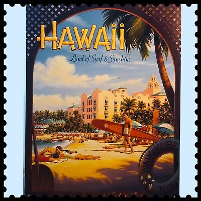 Travel Poster Tin Metal Sign Hawaii Land Of Surf Sunshine By Kerne Ericks...