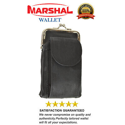 Marshal Leather Black 100's Cigarette Snap Case Coin Purse