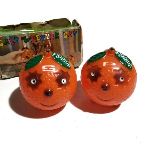 Vintage Florida Orange Salt & Pepper Shakers Plastic w/box Eyes Faces