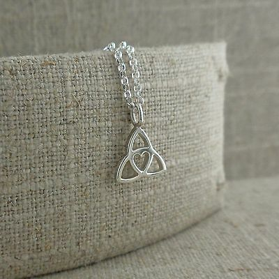 Tracy Gilbert Small Sterling Silver Trinity Knot Heart Pendant Made in Ireland