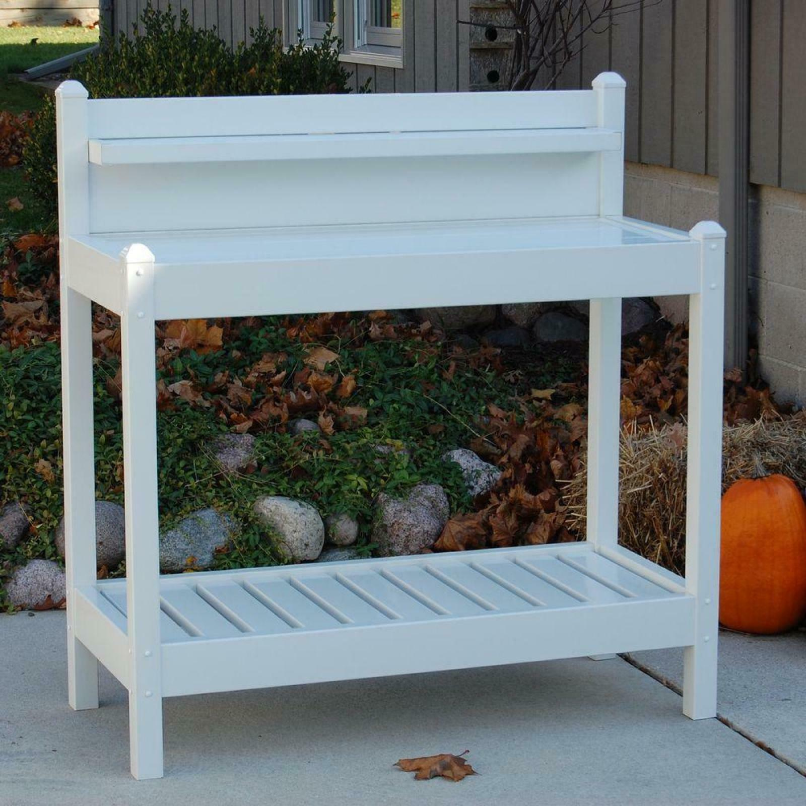Amazing Details About Potting Plant Bench Garden Outdoor Patio Planting White Vinyl Work Table Station Caraccident5 Cool Chair Designs And Ideas Caraccident5Info